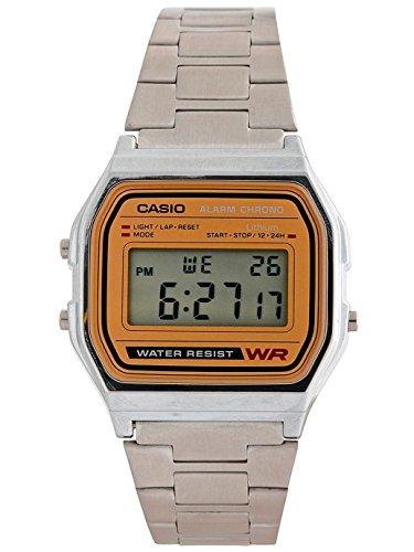 Casio A158WA-9 Casio Silver & Camel Digital Watch