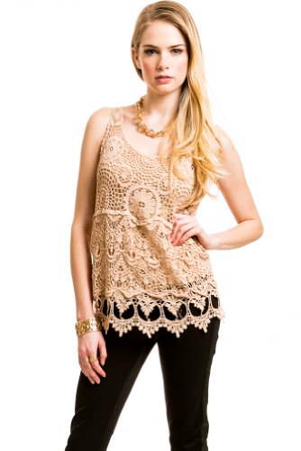 Embroidered Front Tank Blouse In Light Brown