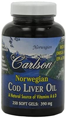 Carlson Labs Cod Liver Oil, 390 Mg , 250 Softgels (Pack of 3)
