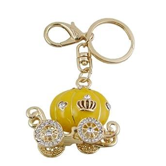 yellow pumpkin coach purse charm keychain