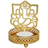 Snowbird Ganesh Ji Shadow Lamps Tealight Candle Holder Stand For Pooja And Decorative (8 Cm X 8 Cm X 11 Cm, Brown)