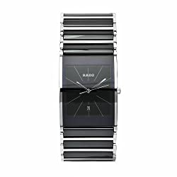 Rado Men's R20861152 Integral Black Dial Quartz Stainless Steel Case Watch from Rainbow Linens