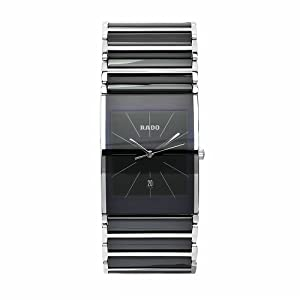 Rado Men's R20861152 Integral Black Dial Quartz Stainless Steel Case Watch by Rainbow Linens