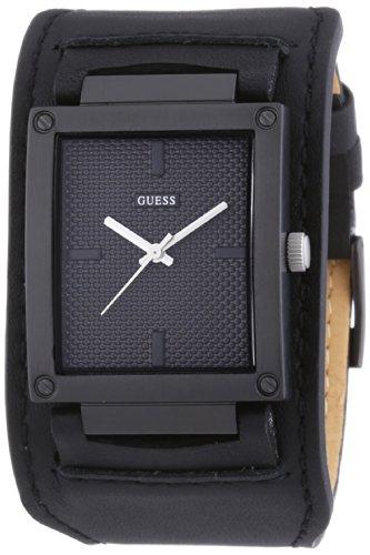 Guess W0359G2 - Reloj con correa de piel para hombre, color negro