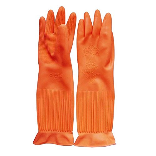 1 Pair Due Reusable Long Kitchen Household Cleaning Dishwashing Glove House Hold Rubber Latex Gloves,Orange (Rubber Gloves For Dishwashing compare prices)