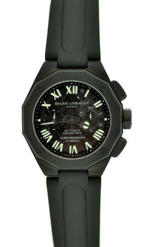 Baume & Mercier Men's Fly back Chronograph Brown Dial Black Rubber