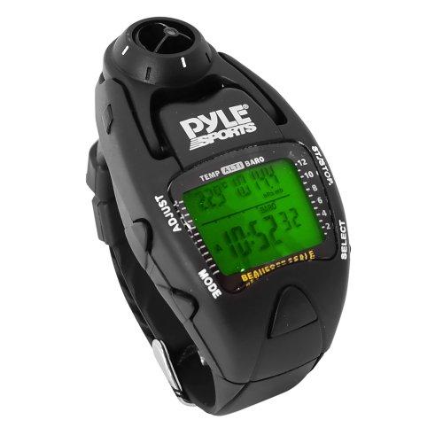Yacht Timer-Uhr von Pyle; misst die Wind-Temperatur und -Geschwindigkeit, Höhenmesser, Barometer, Kompass, Chronograph mit 10-Runden-Speicher (schwarz).