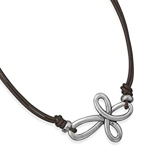 Sterling Silver 16 Inch Double Strand Leather Cross Fashion Necklace - 16 Inch - JewelryWeb