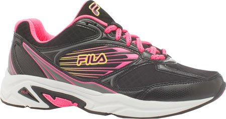 Fila Women's Inspell 3-W Running Shoe, Black/Knockout Pink/Safety Yellow, 6 M US
