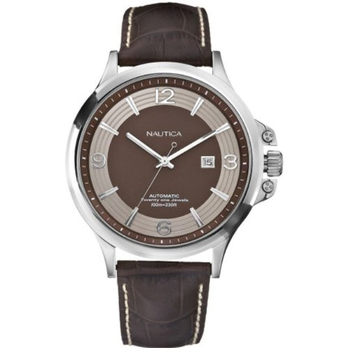 Nautica A35512G Gents Brown Dial Stainless Steel Case Brown Leather Strap Watch
