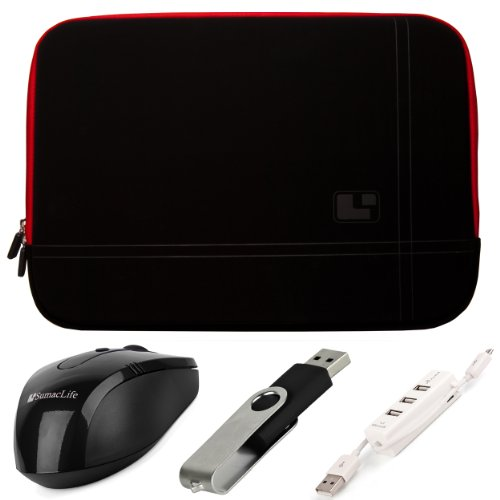 """Sumaclife Premium Microsuede Protective Zipper Sleeve Cover W/ Insulated Neoprene Bubble Padding (Red Trim) For Asus 15.6 Inch Vivobook Ultrabook Laptops / Asus 15.6"""" Notebooks + Black Sumaclife Wireless Usb Mouse And Adapter + Black 4Gb Flash Memory Thum"""