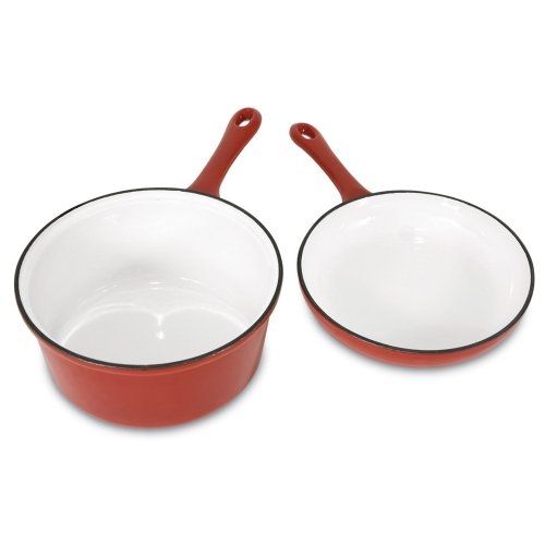 Heuck 33024 Porcelain Enamel Cast Iron 2.5 Quart Sauce Pan and 8 Inch Skillet Combo, Red