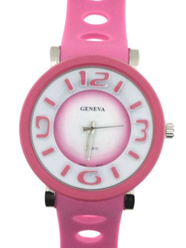 Pink Silicone Rubber Gel Watch Oval Graduated Holes In Band Large Face. Numbers Are 3 Dimensional