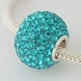 Turquoise Blue Crystal - Huge Discoball Swarovski & Sterling Silver Charm Bead - fits Pandora, Chamilia etc style Bracelets - SpangleBead