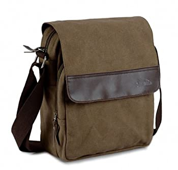 Good&god Mens Small Vintage Khaki Canvas Messenger Bag IPad Shoulder Bag