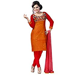 Brown and Red Cotton Party Wear Dress Material Set