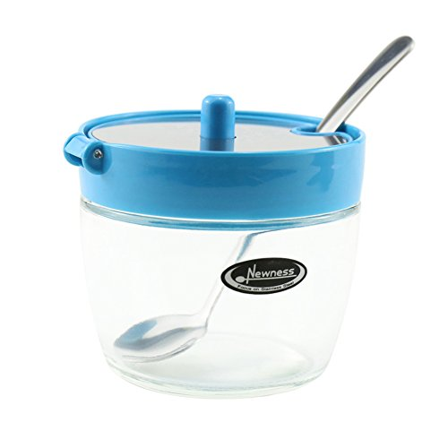 Newness Clear Glass, Stainless Steel and Plastic Sugar Bowl with Lid and Sugar Spoon for Home and Kitchen, 7.09 Ounces(210 Milliliter), Blue (Sugar Holder With Lid compare prices)