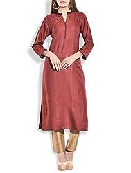 Tagaai Women's Silk Cotton Long Kurta Mehroon - Small