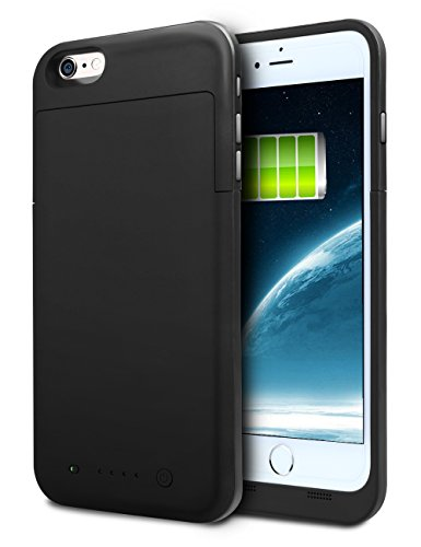 iPhone 6S Plus Battery Case, HianDier 6800mAh Extended Rechargeable Battery Case iPhone 6 Plus / 6S Plus Power Bank Cover Portable Charger Battery Pack for iPhone 6 Plus / 6S Plus 5.5''-Black (Iphone Charger Custom compare prices)