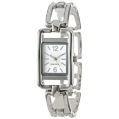 Nine West Women's NW1039SVSB Silver-Tone Rectangular Open-Link Bracelet Watch