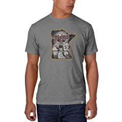 Minnesota Twins 47 Brand Cooperstown Gray Vintage Logo Scrum T-Shirt by