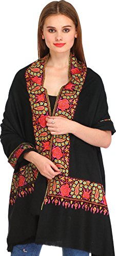 exotic-india-jet-black-kashmiri-pure-pashmina-shawl-with-papier-mache-hand-embroidery-on-border-blac