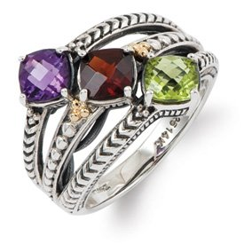 Genuine IceCarats Designer Jewelry Gift Sterling Silver & 14K Three-Stone Mother's Ring Mounting Size 9.00