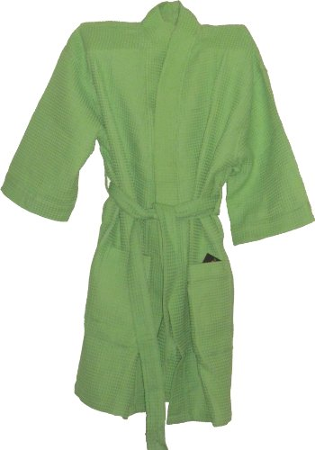 Cotton Waffle Spa Robe Lime Green Bridesmaids Gift And Christmas Gifts front-860192