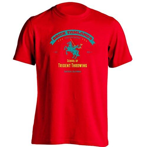Arnoldo Blacksjd Brick Tamlands School Of Trident Throwing Anchorman Ron Burgundy Printing T Shirt XX-Large