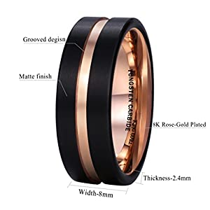 King Will 8mm Black Mens Tungsten Carbide Ring Matte Wedding Band with Rose Gold Plated Groove & Inner (9.5) from King Will