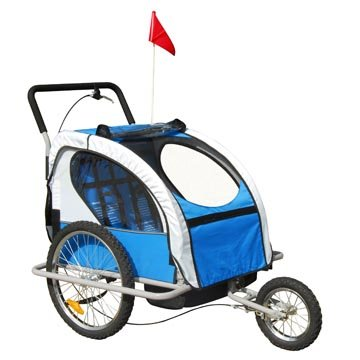 Aosom 2in1 Double Baby Bike Trailer/stroller--Blue