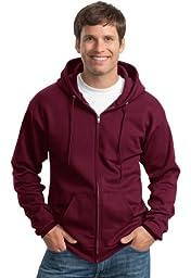 Port & Company Classic FullZip Hooded Sweatshirt-L (Charcoal),4X Big,Maroon