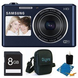 New Samsung DV150F Dual-View 16.2 MP Smart Camera with Built-in Wi-Fi – Black Deluxe Bundle With 8 GB Memory Card, Card Reader, Deluxe Carrying Case, Mini Tripod, Lens Cleaning Kit.