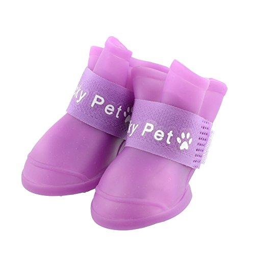 {Factory Direct Sales} Durable 4Pcs Pet Cat Puppy Dog Waterproof Boots Rain Shoes Purple M