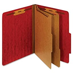 Globe-Weis Moisture Resistant Classification Folder, Letter Size, 2 Dividers, Dark Red, (PU61M DRED) by Globe Weis