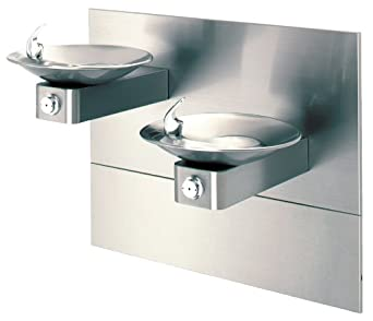 "Haws 1011MS Dual Satin Finish 18 Gauge 304 Stainless Steel ""Hi-Lo"" Barrier-Free Wall Mounted Drinking Fountain with Swirl Bowl and Access Panel (Mounting Frame Not Included)"