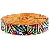 Country Brook Design 3/4 Inch Tie Dye Stripes Ribbon On Orange Nylon Webbing,...