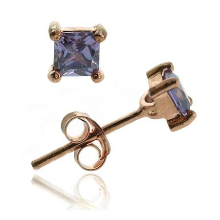 18K Rose Gold over Sterling Silver Purple CZ 4mm Square Stud Earrings
