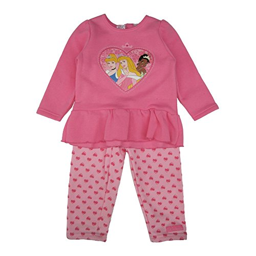Disney Little Girls Pink Princess Heart Frame Portrait 2 Pc Pant Set 4T (Disney Princess Pink Dress)