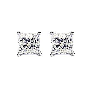 2ct Princess cut Diamond stud Earring 14k gold
