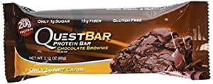 Quest Bar Protein Bar, Chocolate Brownie, 2.1 Ounce (Pack of 12)