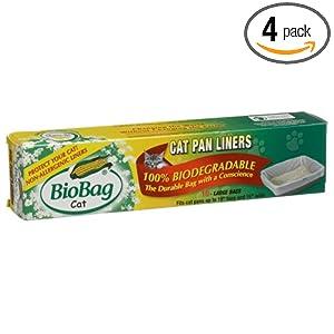 BioBag Cat Pan Liners Biodegradable Bags, 10-Count Boxes (Pack of 4)