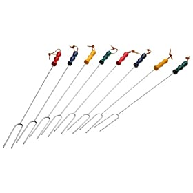 Rome's 8 Piece Marshmallow Roasting Fork Set, Chrome Plated with Multi Colored Handles