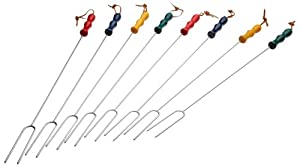 Rome Industries CS-2200 Rome's 8 Piece Marshmallow Roasting Fork Set, Chrome Plated with Multi Colored Handles