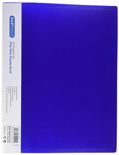Rapesco PVDA420L - Libro de display vista poly con 20 bolsillos, color azul