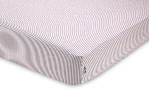 GUND Babygund Stripes Sateen Crib Sheet, Stripes - Popsicle Pink, 28'' By 52''