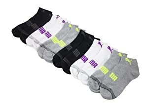 6 Pair Puma Women's Athletic Quarter Crew Socks (White/Black/Gray-104)