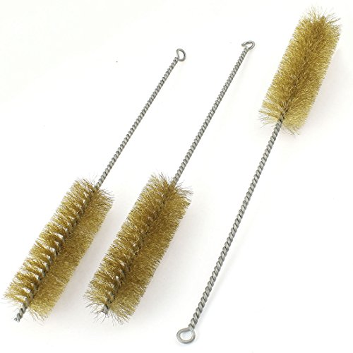 3 Pcs 40mm Diameter Brass Wire Tube Brush Cleaning Tool 32cm Length