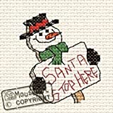 Mouseloft Mini Cross Stitch Card Kit - Santa Stop Here, Christmas Collection