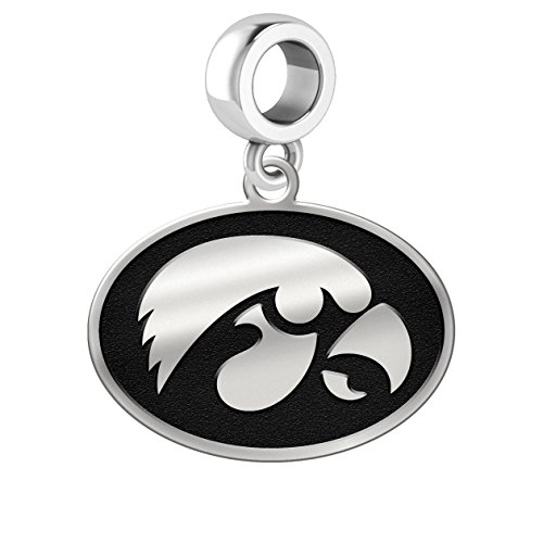 Iowa Hawkeyes Silver Logo Dangle Charm Fits All European Style Charm Bracelets.